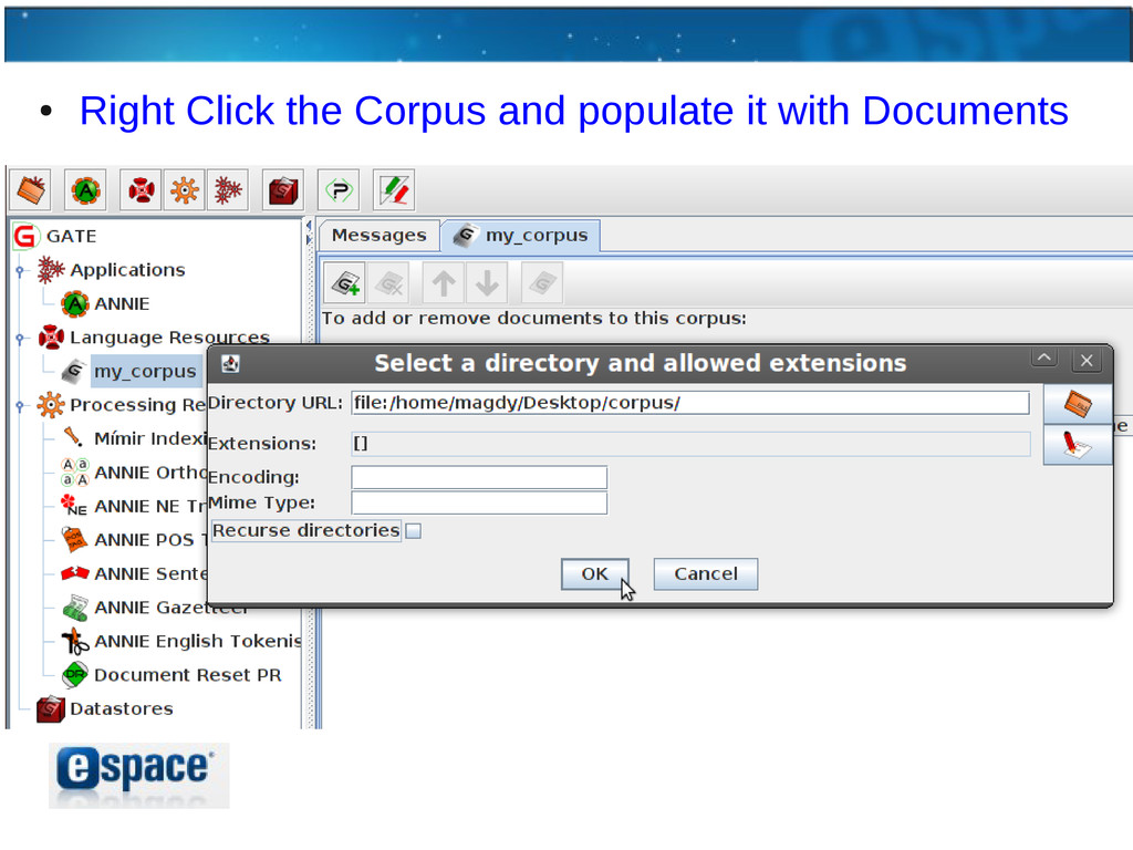 ● Right Click the Corpus and populate it with D...