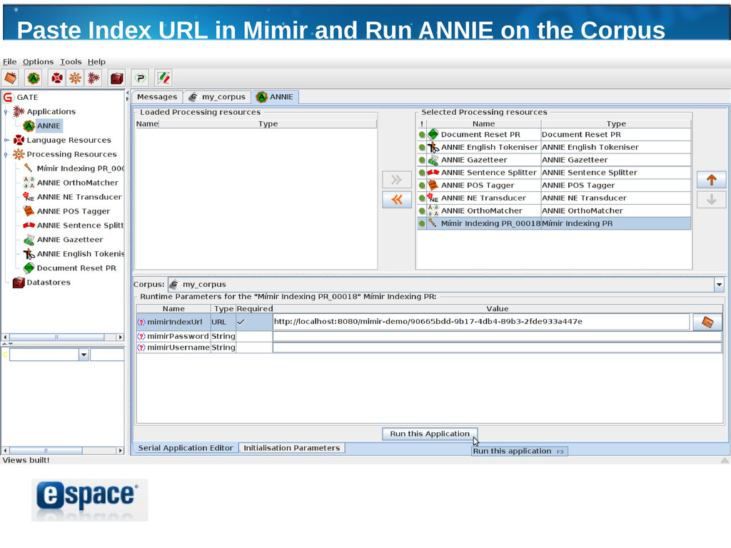 Paste Index URL in Mimir and Run ANNIE on the C...