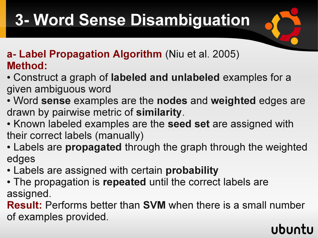 3- Word Sense Disambiguation a- Label Propagati...
