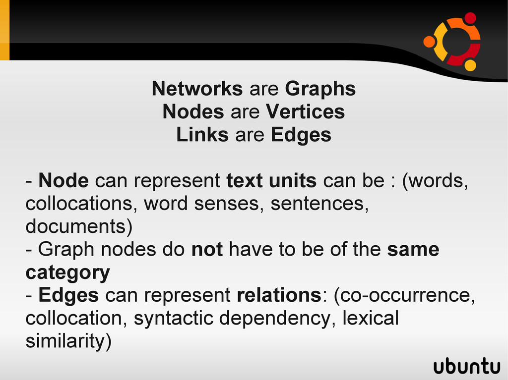 Networks are Graphs Nodes are Vertices Links ar...