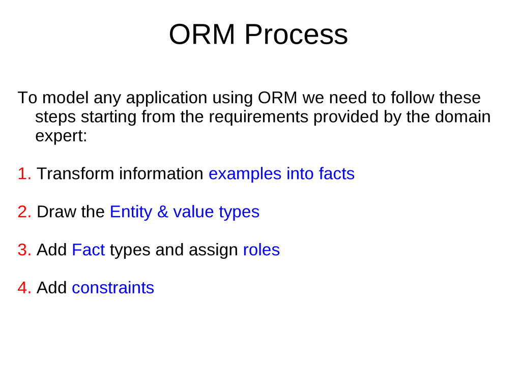ORM Process To model any application using ORM ...