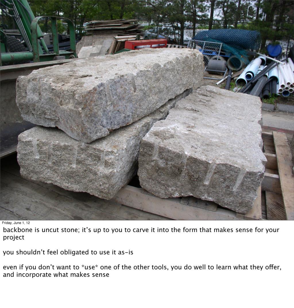 Friday, June 1, 12 backbone is uncut stone; it'...
