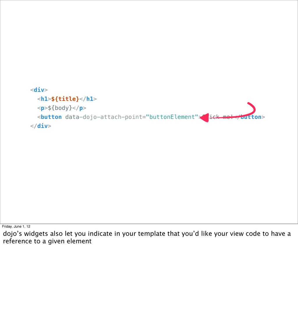 <div> <h1>${title}</h1> <p>${body}</p> <button ...