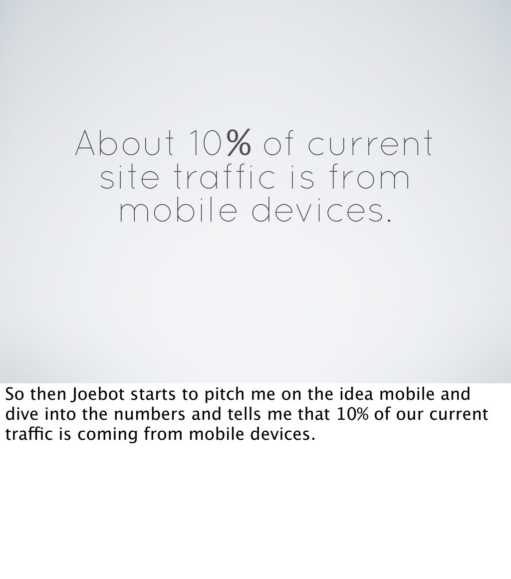 About 10% of current site traffic is from mobil...