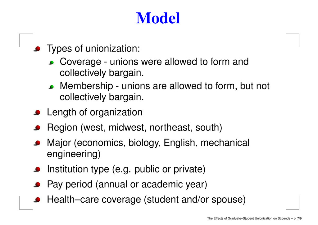 Model Types of unionization: Coverage - unions ...