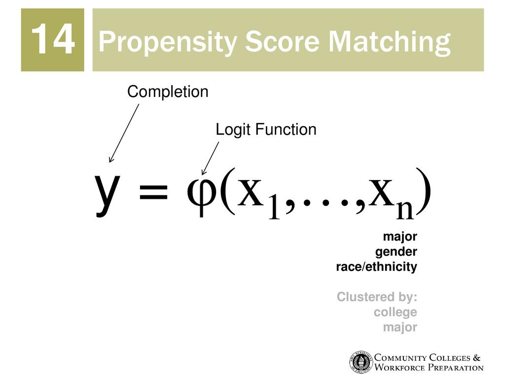Propensity Score Matching 14 y = φ(x1 ,…,xn ) C...