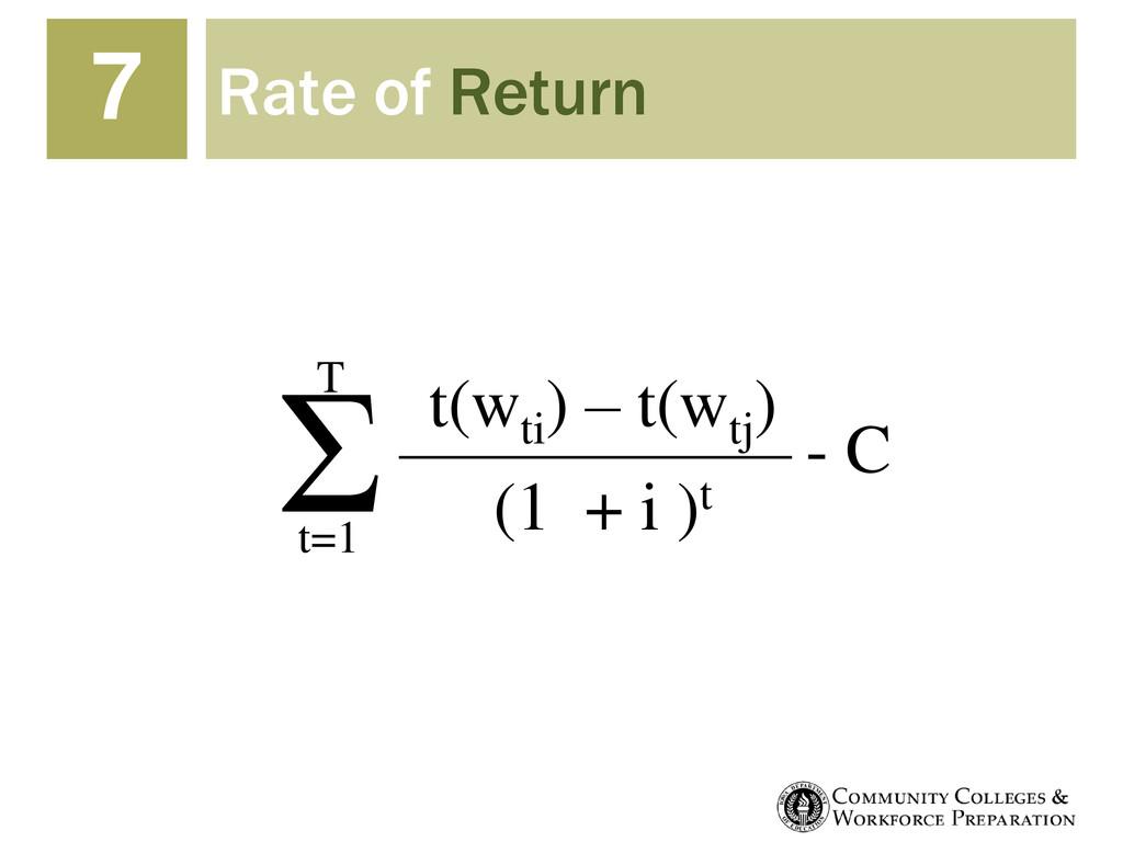 Rate of Return 7 t(wti ) – t(wtj ) (1 + i )t Σ ...