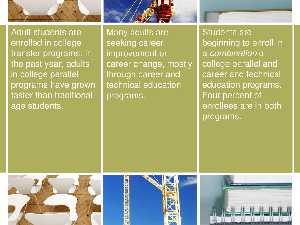 Many adults are seeking career improvement or c...