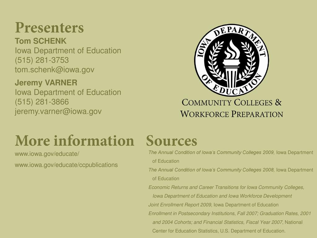 Tom SCHENK Iowa Department of Education (515) 2...