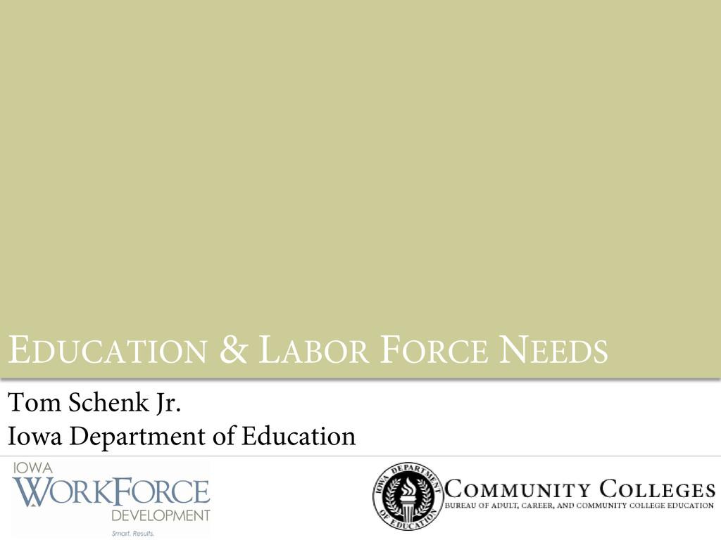 EDUCATION & LABOR FORCE NEEDS Tom Schenk Jr. Io...