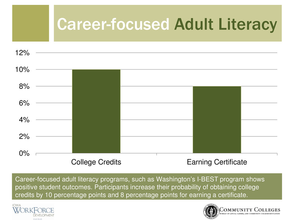 Career-focused adult literacy programs, such as...