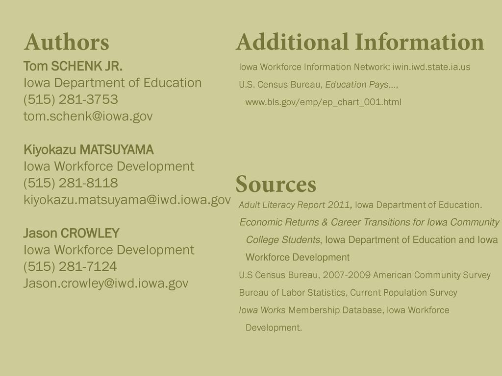 Authors Tom SCHENK JR. Iowa Department of Educa...