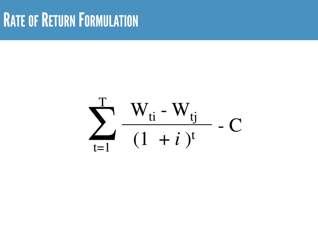 RATE OF RETURN FORMULATION Wti - Wtj (1 + i )t ...
