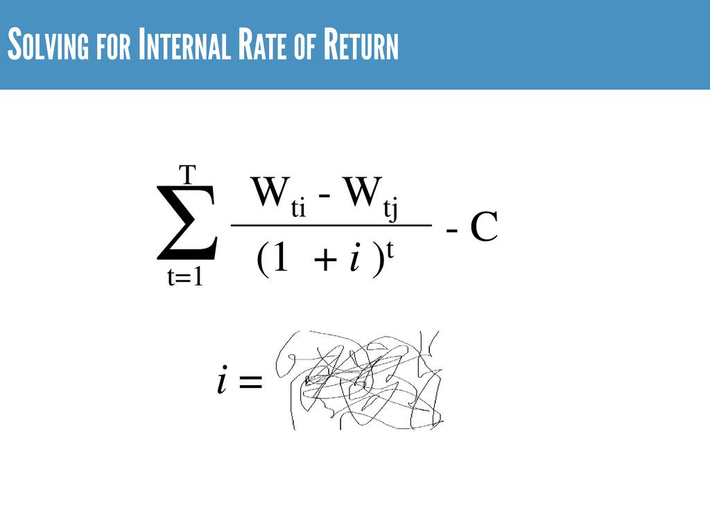 SOLVING FOR INTERNAL RATE OF RETURN Wti - Wtj (...