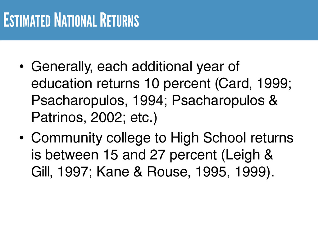 ESTIMATED NATIONAL RETURNS • Generally, each ad...