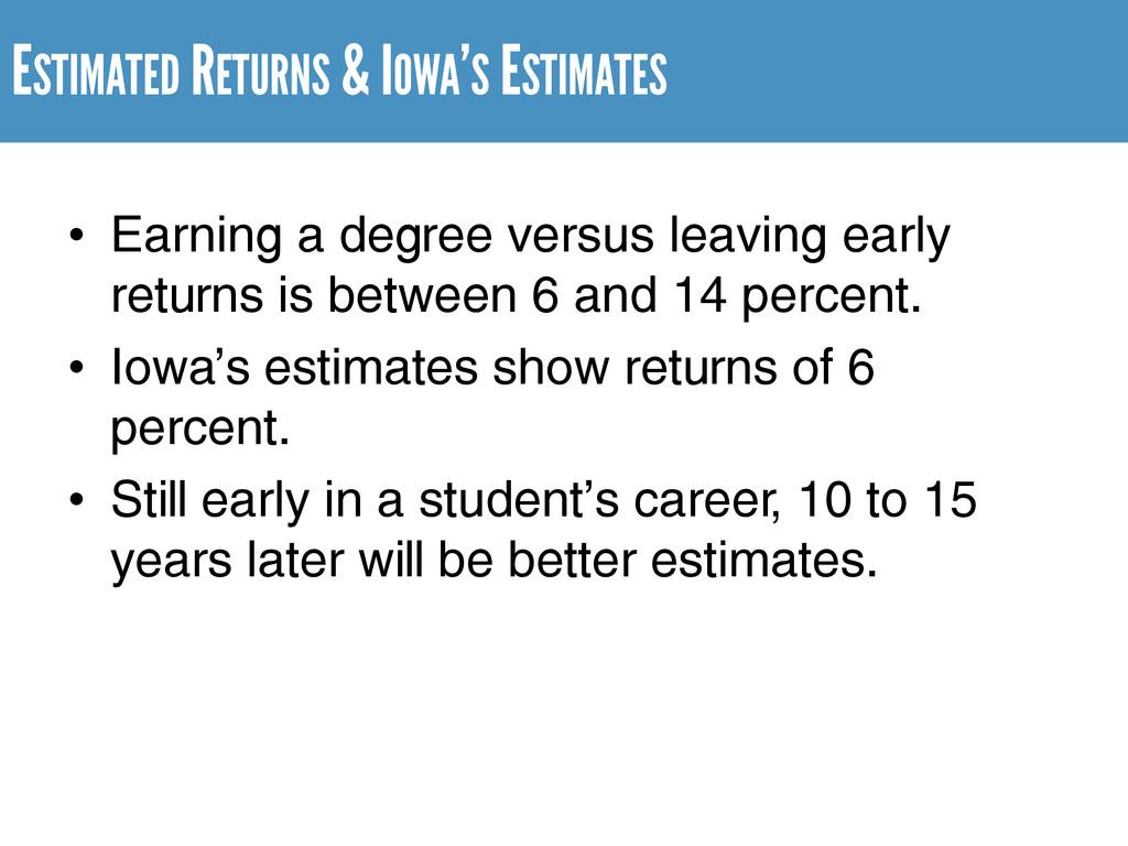 ESTIMATED RETURNS & IOWA'S ESTIMATES • Earning ...