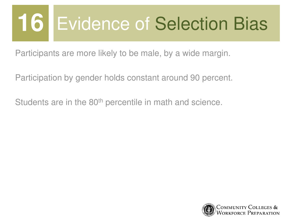 Evidence of Selection Bias Participants are mor...