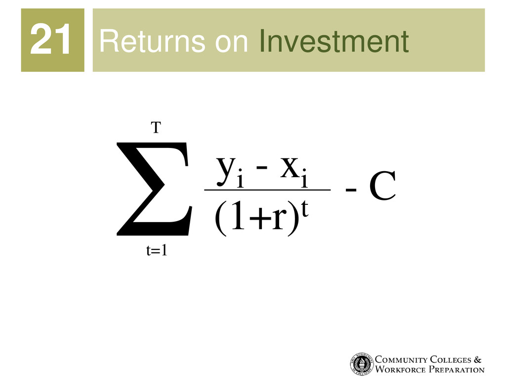 Returns on Investment 21 Σ yi - xi (1+r)t t=1 T...