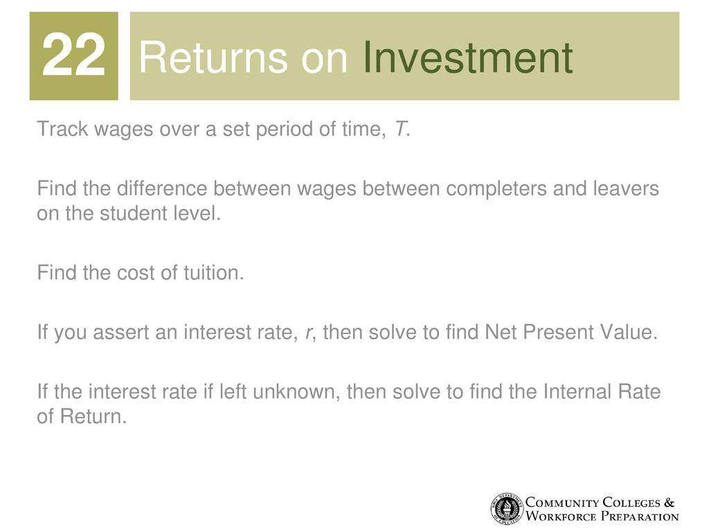 Returns on Investment Track wages over a set pe...
