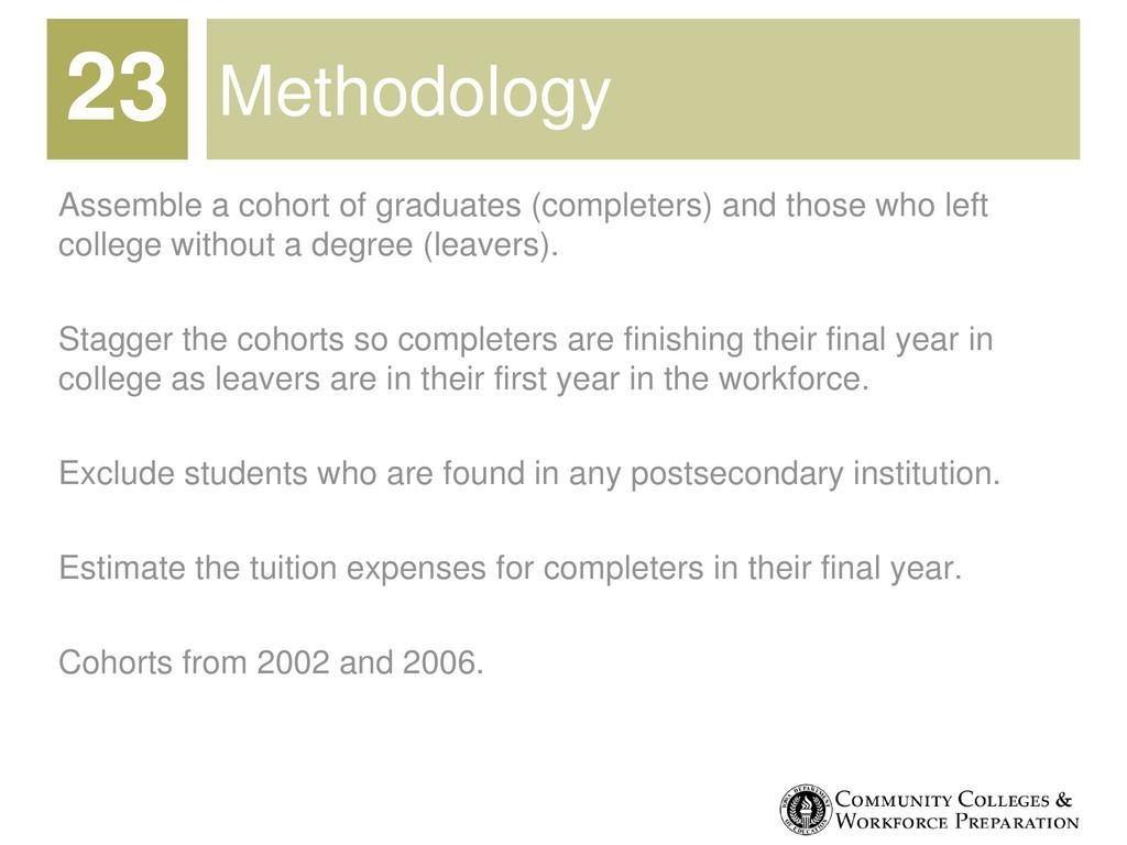 Methodology Assemble a cohort of graduates (com...