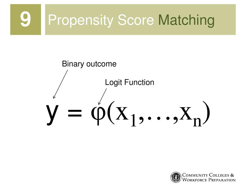 Propensity Score Matching 9 y = φ(x1 ,…,xn ) Bi...