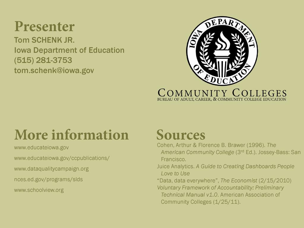 Tom SCHENK JR. Iowa Department of Education (51...
