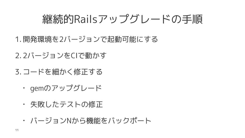 継続的Railsアップグレードの手順 1. 開発環境を2バージョンで起動可能にする 2. 2バ...