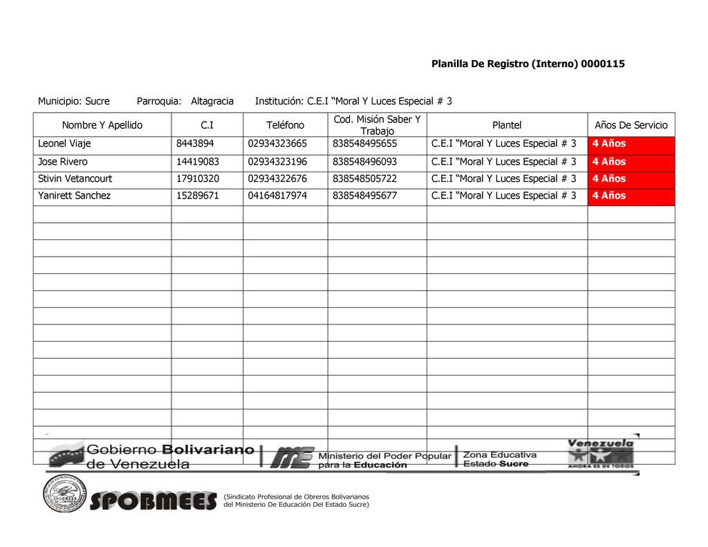 Planilla De Registro (Interno) 0000115 Municipi...