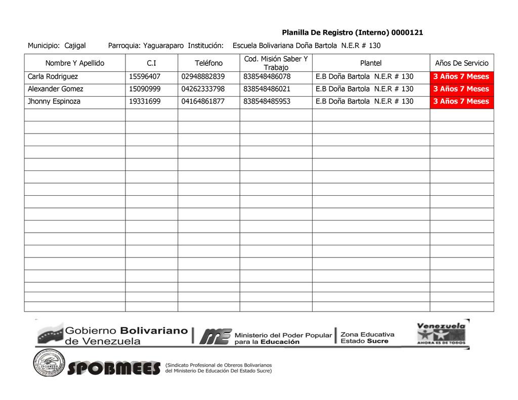 Planilla De Registro (Interno) 0000121 Municipi...