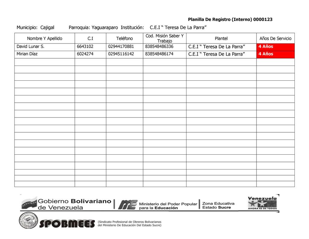 Planilla De Registro (Interno) 0000123 Municipi...