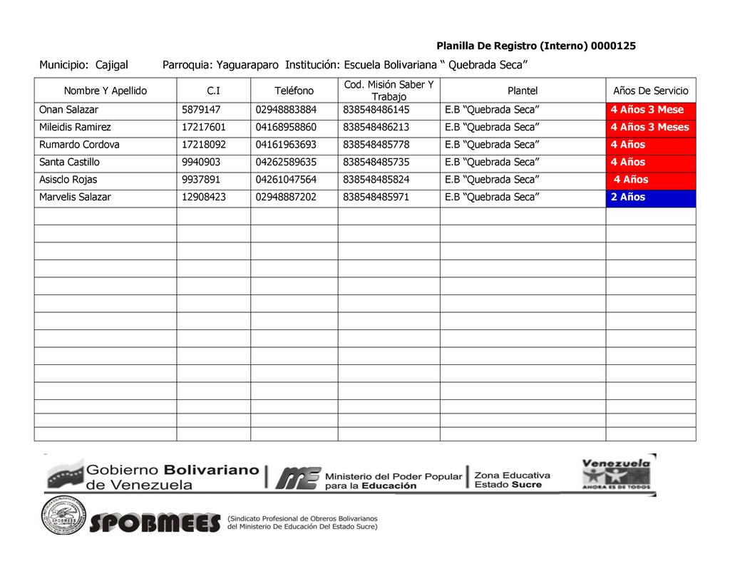 Planilla De Registro (Interno) 0000125 Municipi...