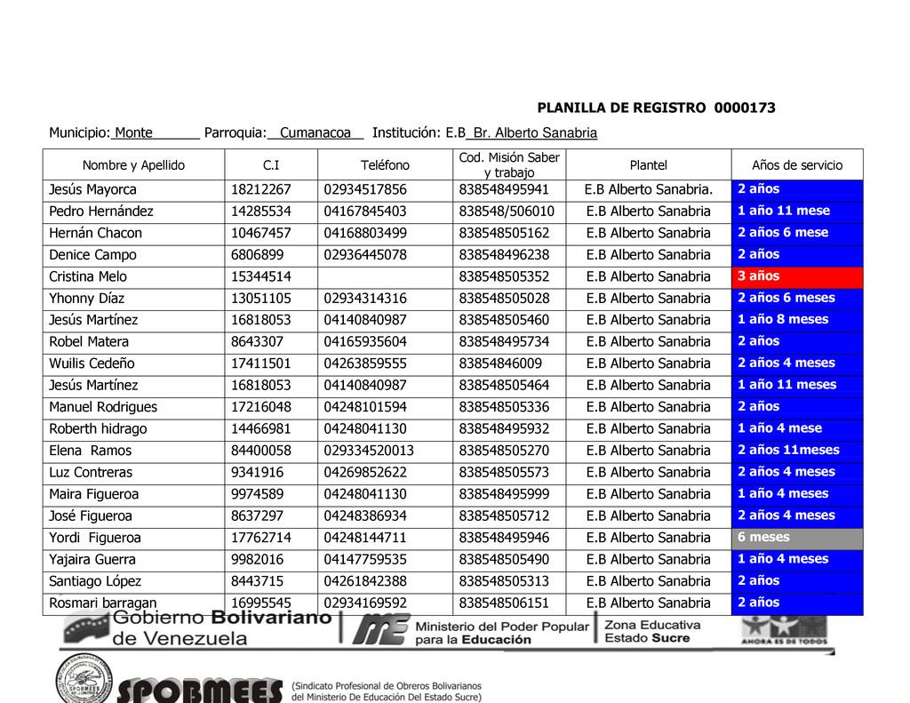 PLANILLA DE REGISTRO 0000173 Municipio: Monte P...