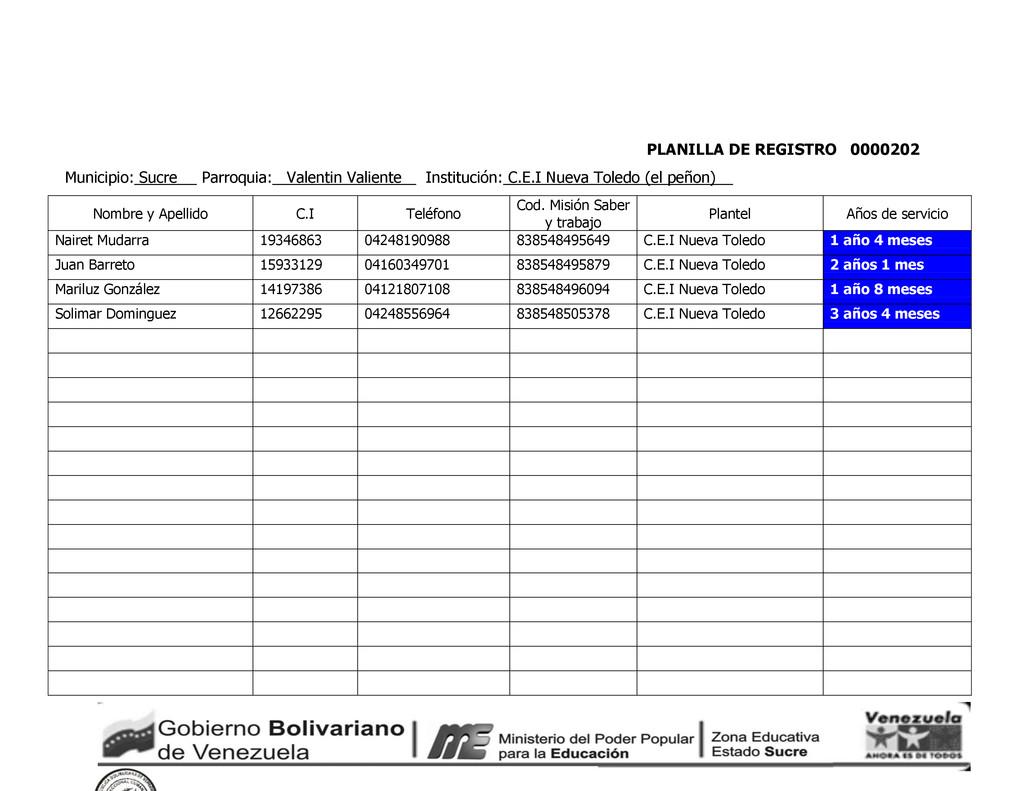 PLANILLA DE REGISTRO 0000202 Municipio: Sucre P...
