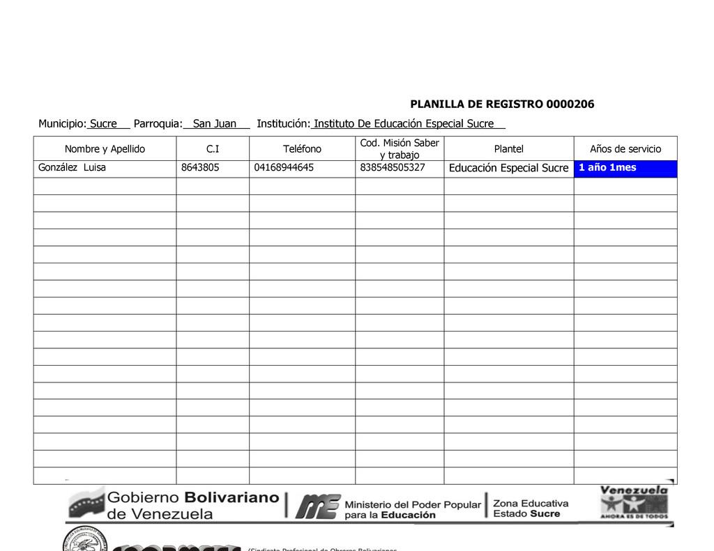 PLANILLA DE REGISTRO 0000206 Municipio: Sucre P...
