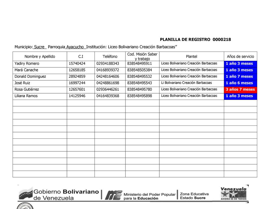 PLANILLA DE REGISTRO 0000218 Municipio: Sucre_ ...