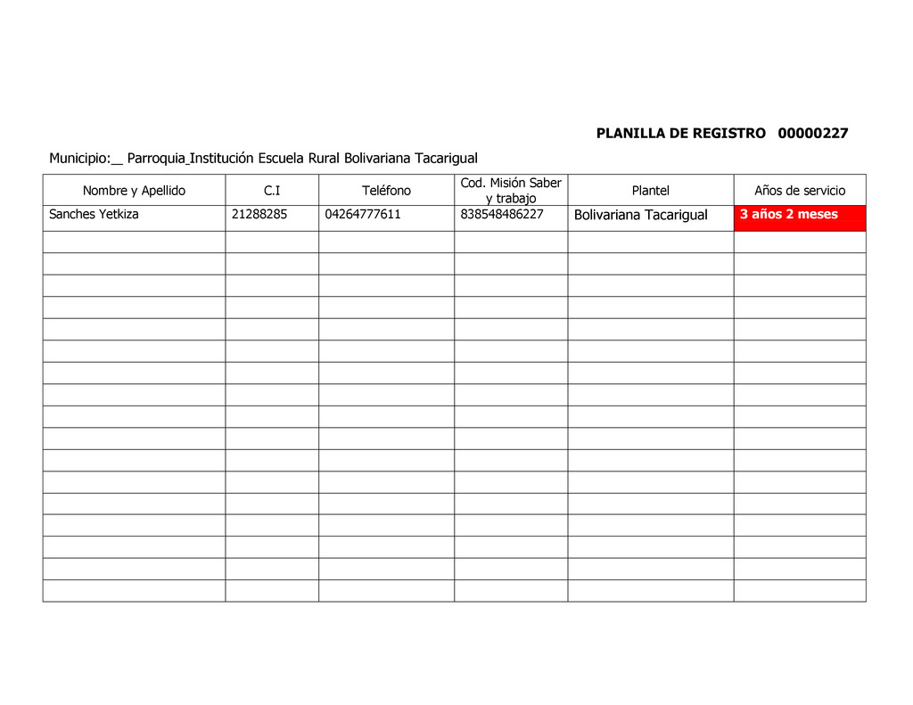 PLANILLA DE REGISTRO 00000227 Municipio: _ Parr...