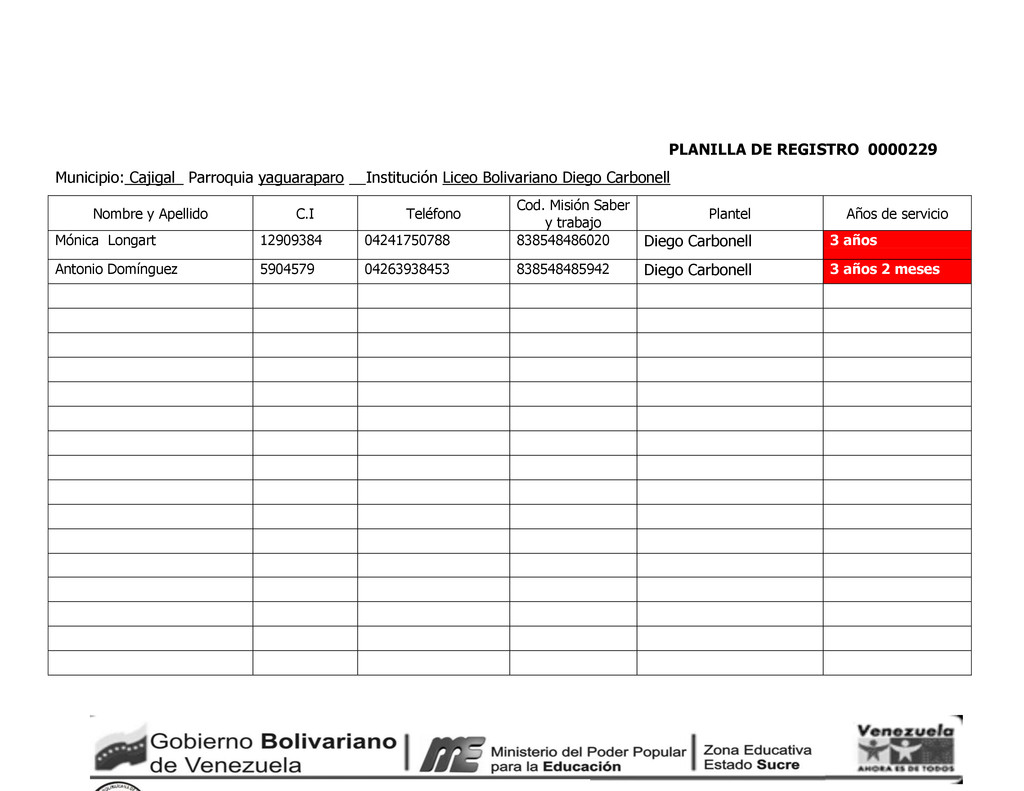 PLANILLA DE REGISTRO 0000229 Municipio: Cajigal...