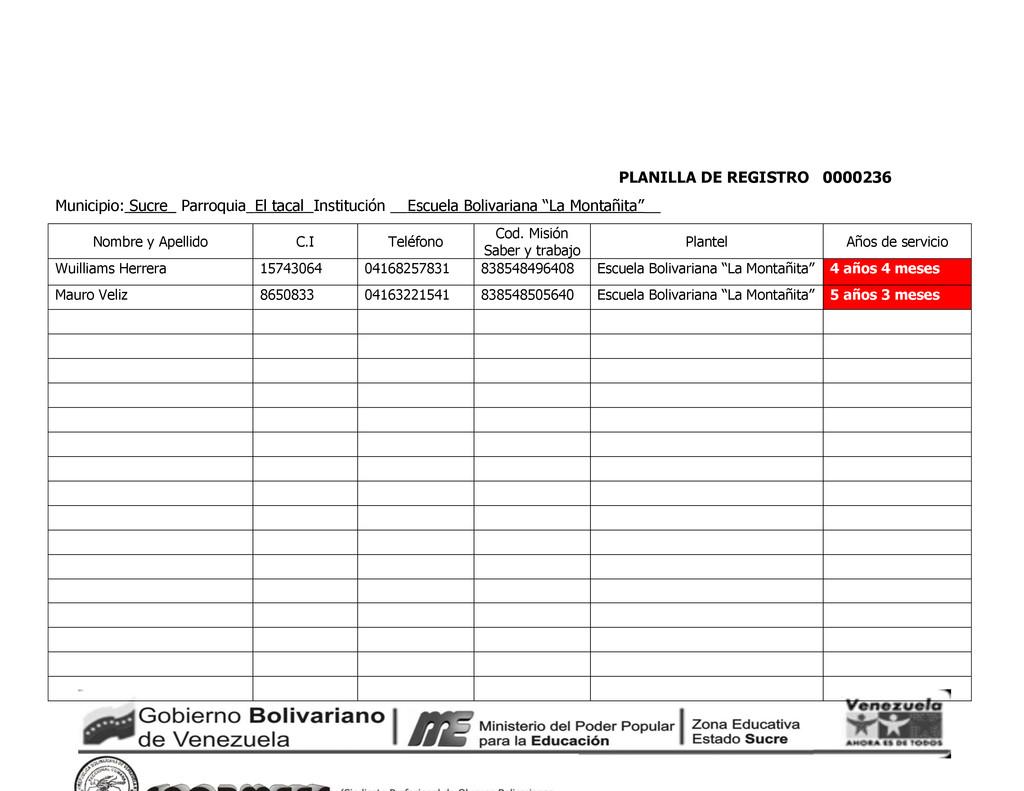 PLANILLA DE REGISTRO 0000236 Municipio: Sucre_ ...