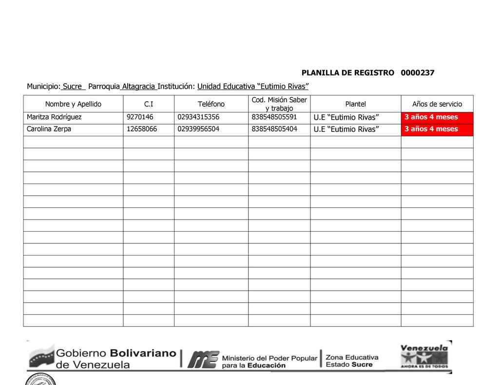 PLANILLA DE REGISTRO 0000237 Municipio: Sucre_ ...