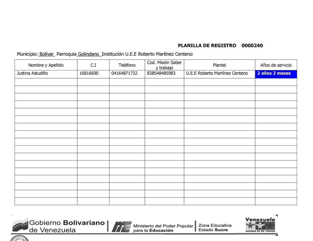 PLANILLA DE REGISTRO 0000240 Municipio: Bolívar...