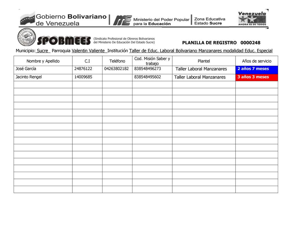 PLANILLA DE REGISTRO 0000248 Municipio: Sucre_ ...