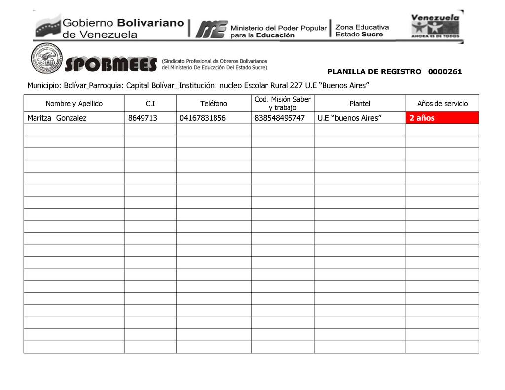 PLANILLA DE REGISTRO 0000261 Municipio: Bolívar...