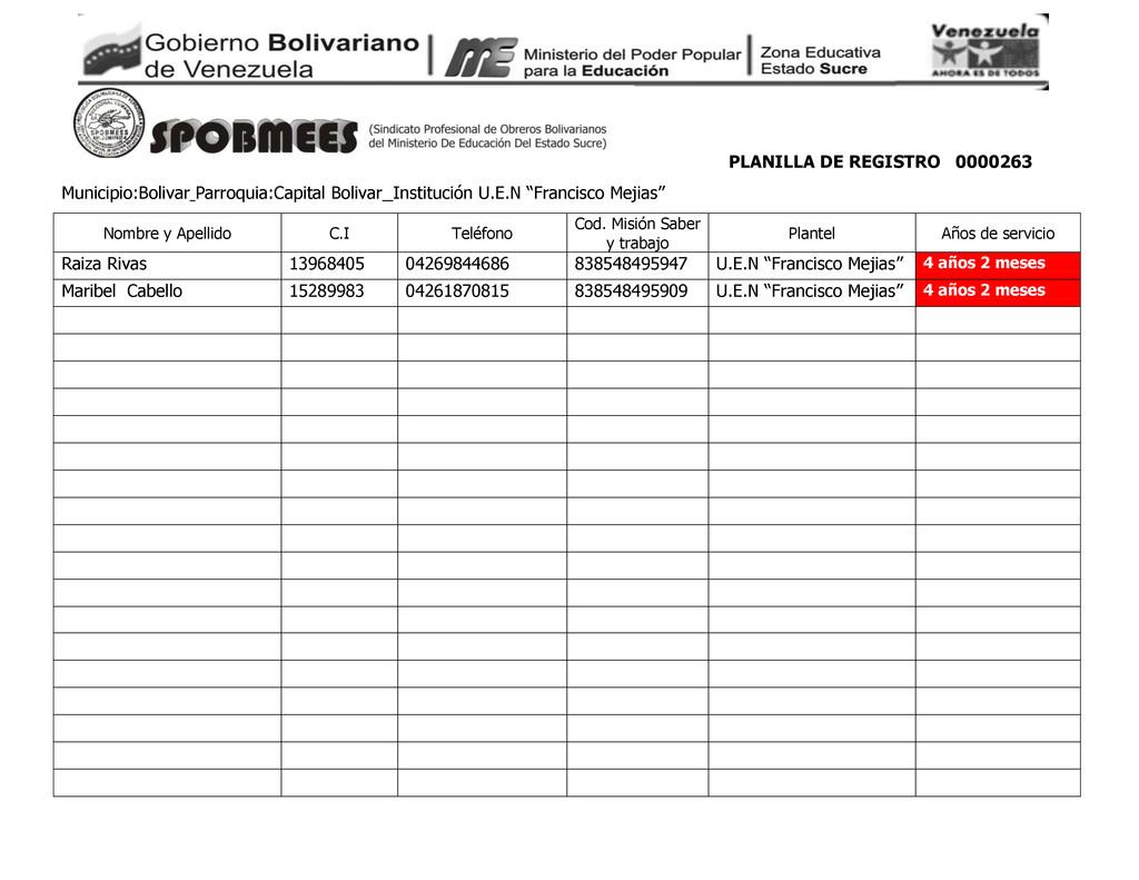 PLANILLA DE REGISTRO 0000263 Municipio:Bolivar ...