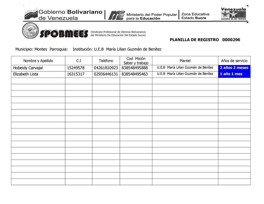 PLANILLA DE REGISTRO 0000296 Municipio: Montes ...