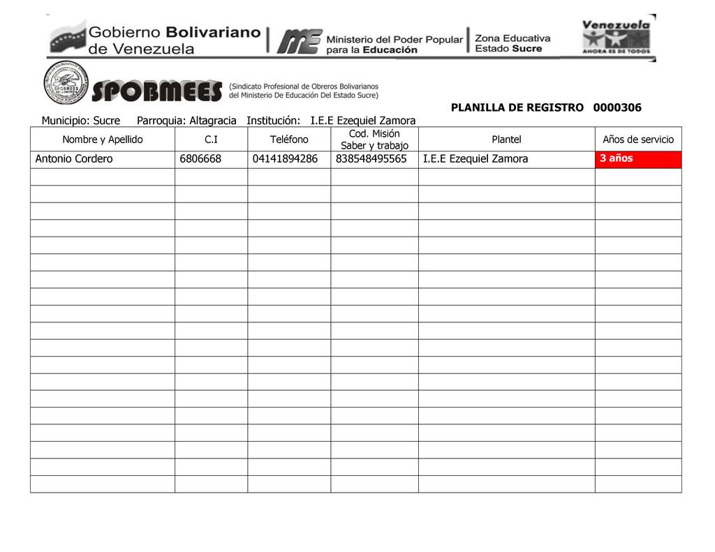 PLANILLA DE REGISTRO 0000306 Municipio: Sucre P...