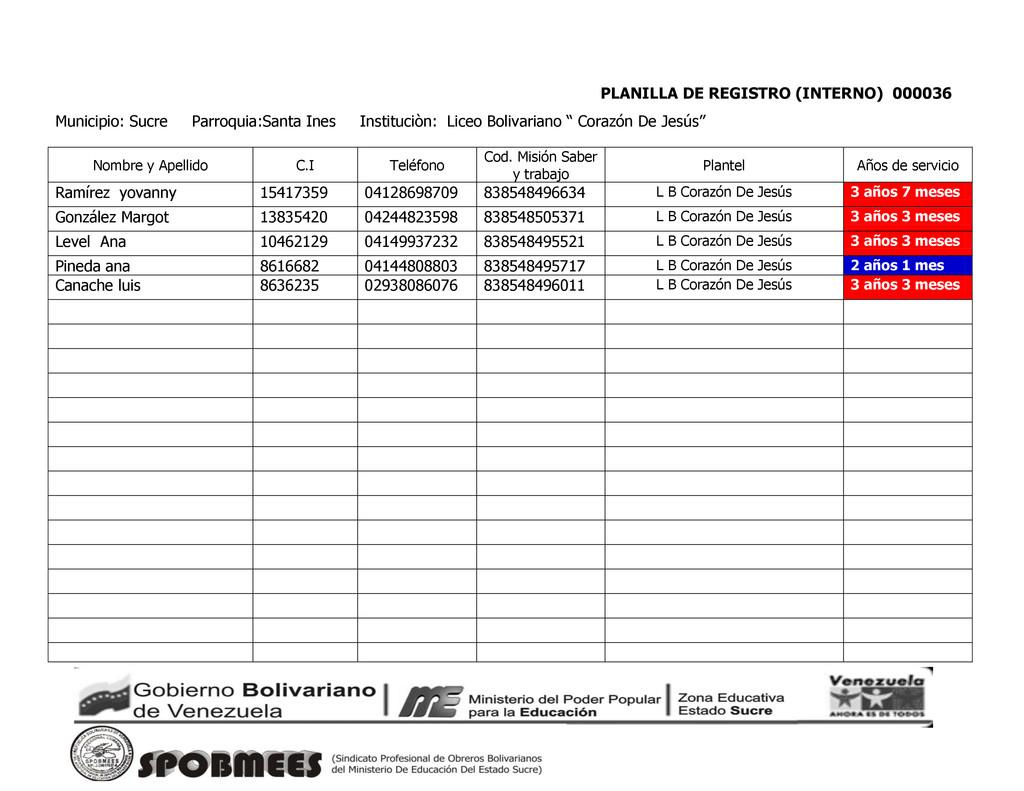 PLANILLA DE REGISTRO (INTERNO) 000036 Municipio...