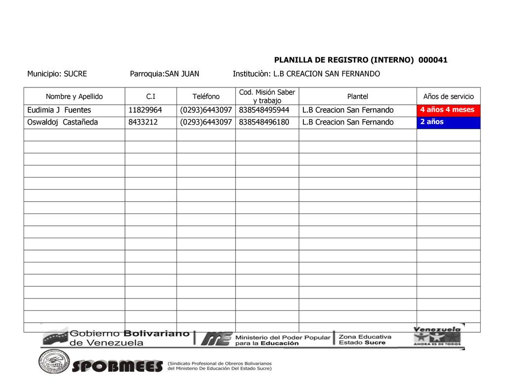 PLANILLA DE REGISTRO (INTERNO) 000041 Municipio...