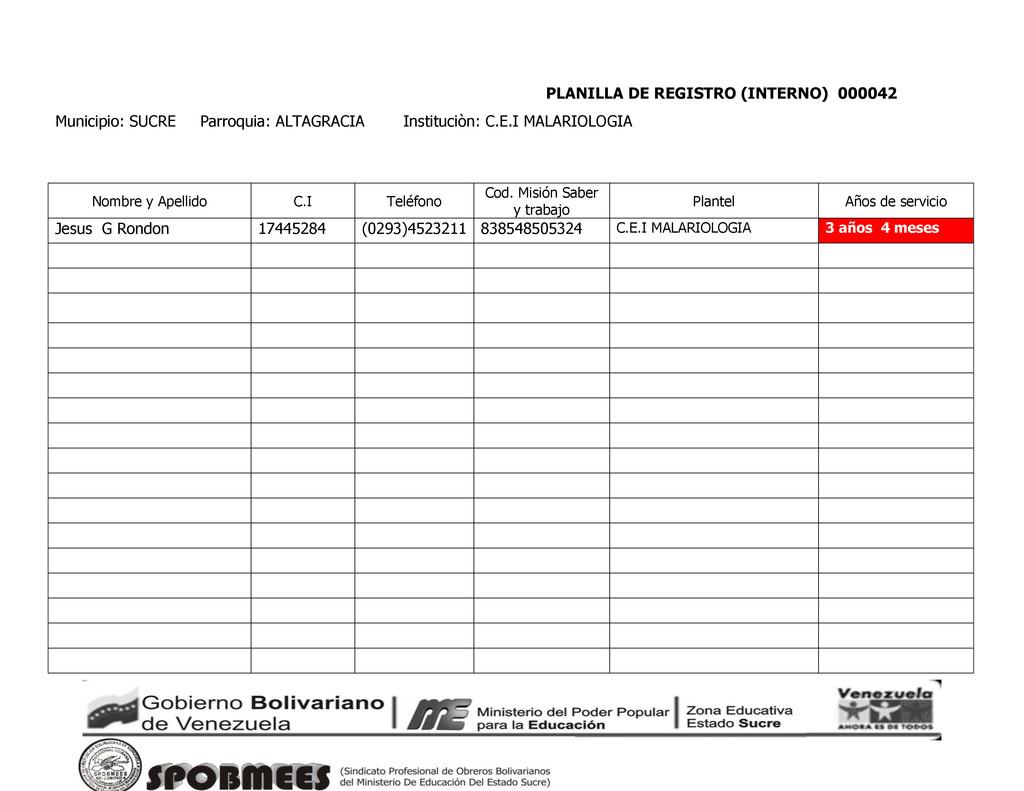 PLANILLA DE REGISTRO (INTERNO) 000042 Municipio...