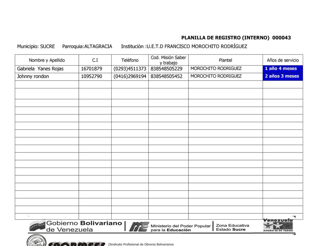 PLANILLA DE REGISTRO (INTERNO) 000043 Municipio...