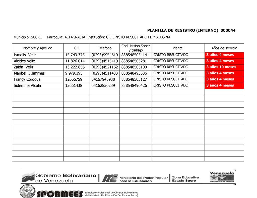 PLANILLA DE REGISTRO (INTERNO) 000044 Municipio...